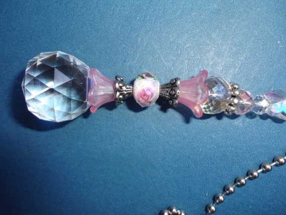 Crystal Ceiling Fan Pull Crystal Light Pull Pink Beaded