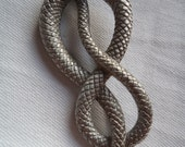 Vintage Signed JJ Silver pewter Coiled Snake with Red Eyes Brooch/Pin