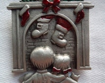 Vintage Signed JJ  Silver pewter Christmas Chimney Children Brooch/Pin