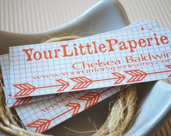 Graph Paper and Arrow Mini Business Cards Kraft or White Set of 50
