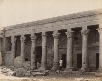 Ile de Fileh colonnade Philae Egypt antique albumen photo by G. Lekegian