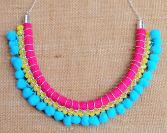 Bazaar Pink and Blue Necklace