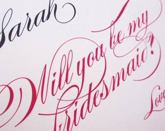 10 Personalized Will You Be My Bridesmaid Cards Formal Script