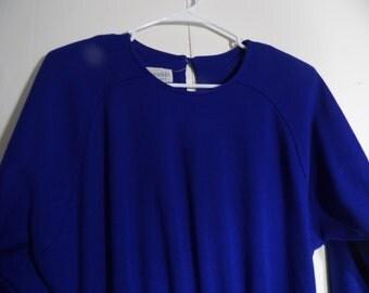 Vintage Medium  Knit Dress, Perrinkle,  Gathered Waist, A Line Skirt