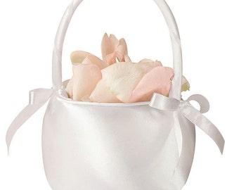 white flower girl basket