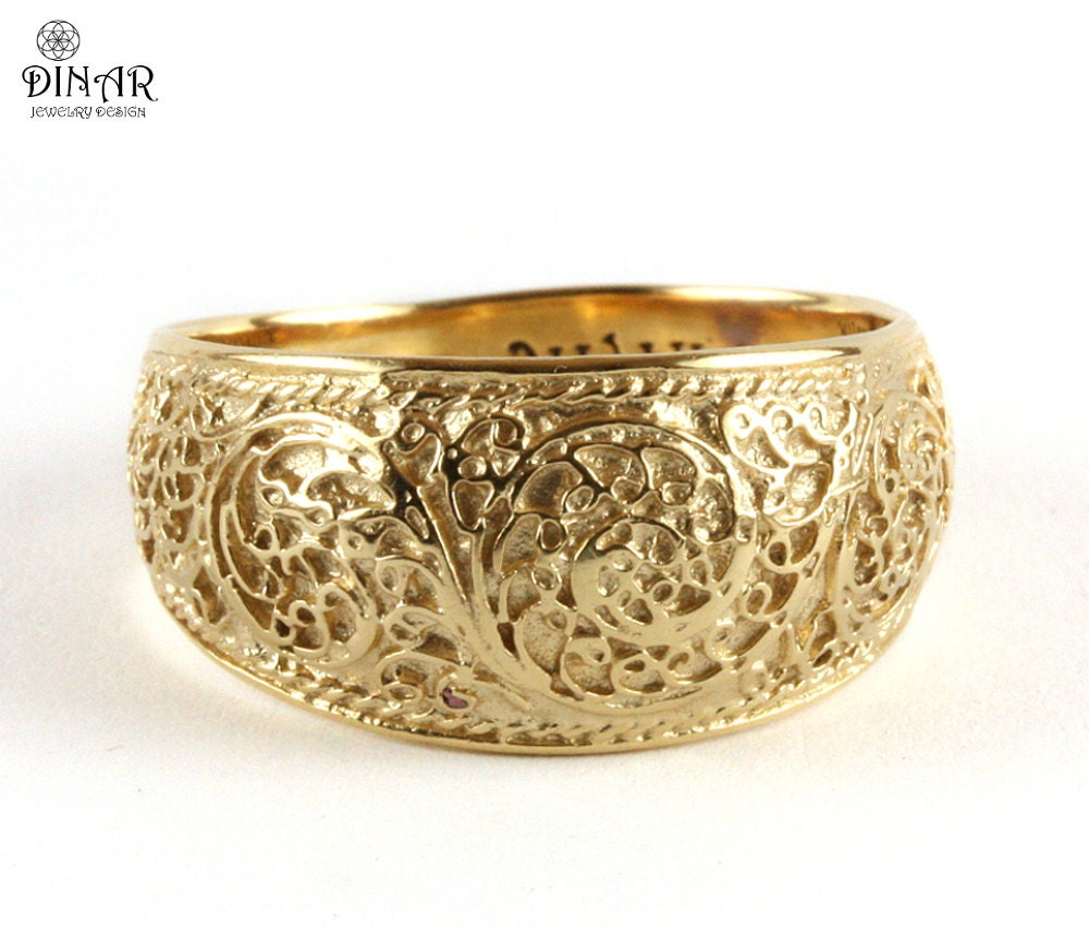 14k filigree wedding band vintage wedding ring scrolls men