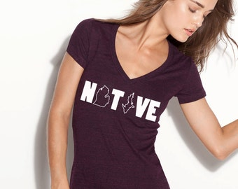 Native Deep V-Neck  Top.  Michigan.  Triblend