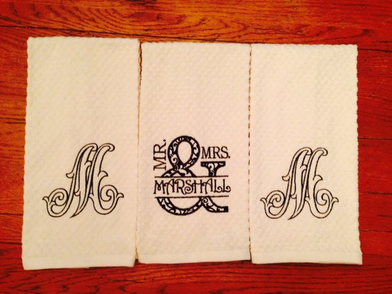 Items Similar To Mr And Mrs Kitchen Towel Set Personalized Monogrammed Kitchen Towel Set Of 3