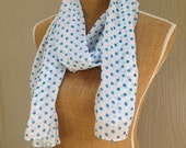 Reserved For Sarah: White Chiffon Scarf with blue dots, polka dot scarf, lightweight summer scarf