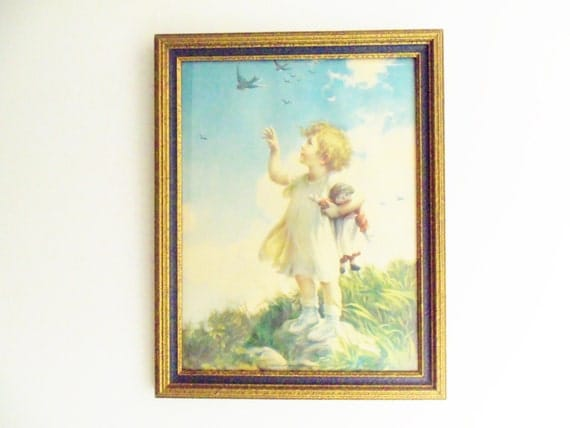 Childs Wall Decor, A World of Happiness by Kenyon Little Girl on Rock with Ragdoll, Blues, Greens, Whimsical Childhood Art Work