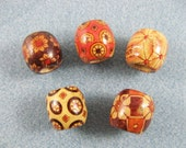 5 big patterned wood beads for your dreads approx. 7mm hole