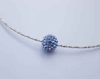Choker with 925 silver pearl and pale blue Shambala.