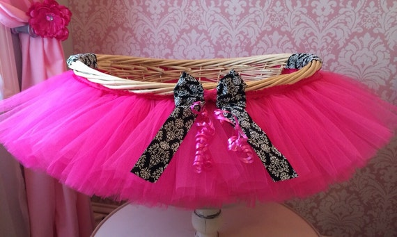 Hot Pink and Damask Tutu Basket, Tutu Gift Basket, Tutu Baby Shower Basket, Wedding Basket, tutu Easter Basket, Newborn Photo Prop Basket