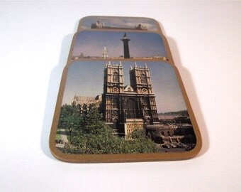 Vintage Trio of 'London' Coasters. Westminster Abbey, Tower Bridge and Trafalgar Square.