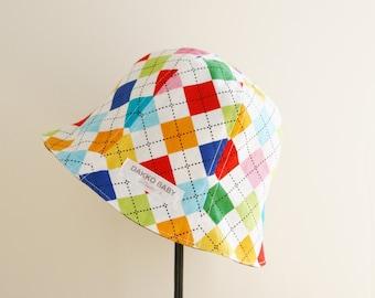 Argyle summer hat, boys sun hat, toddler summer hat, kids sun hat, baby boy summer hat - made to order