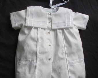 Baby Boy Christening Gown/ Baptism Outfit Romper Size NB 3 6 12 Months
