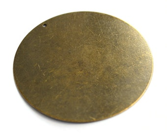 5 Pieces Antique Brass 52 mm Huge Stamping Disc , Charms , Findings-25 Gauge -0,45 mm Thickness