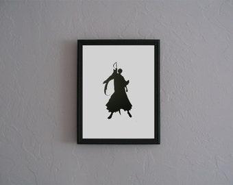 Ichigo Kurosaki Bleach  Hand cut paper art black silhouette paper cutting