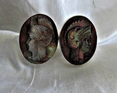 Vintage Carved Cameo 800 Silver Cufflinks Warrior Knight