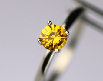 Brilliant Yellow Sapphire Solitaire in a White Gold Ring