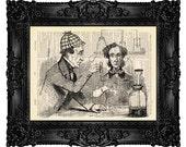 Sherlock Holmes Art Print, Sherlock Holmes Wall Decor, Watson, Upcycled Antique Book Page no.297
