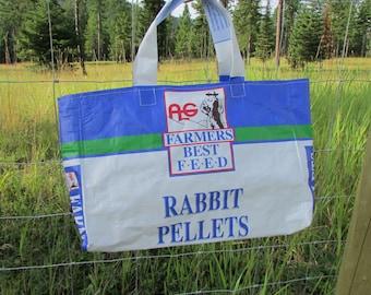 Upcycled Feedbag Tote. Rabbit Pellet Handmade in Kalispell, Montana USA.  FREE USA Shipping