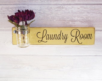 Laundry Room Sign With Mason Jar- Homemade Custard With Hand Painted Black Lettering- French Chic- Shabby- Country Decor