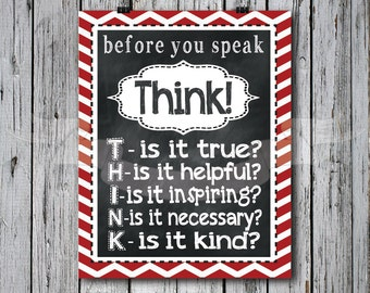 Red - Think before you Speak Chalkboard Print, typography, subway art, children, playroom, bedroom