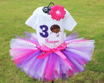 Personalized Doc McStuffins Tutu Set with Number  - Baby - Infant - Toddler up to size 4T -  Birthday Set