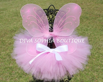 Pink Butterfly Wings with Tutu -  Butterfly Tutu Set - Newborn - Baby Infant Toddler up to size 4T