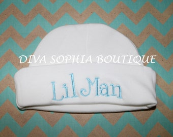 Lil Man Personalized Baby Hat - Monogrammed Baby Beanie Hat