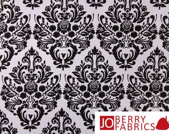 Damask Quilt or Craft Fabric by Jessie Steele for Timeless Treasures, Black on White, Fabric by the Yard