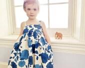 Indigo Linen Toddler Dress - Blue Girls Dress - Ivory Linen Dress - Flower Girl Dress with Pockets - Royal Blue Cornflower Cream Ivory