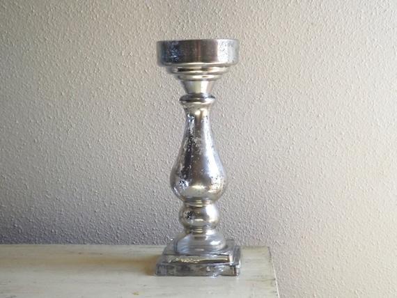 Large Mercury Glass Pillar Candle Holder