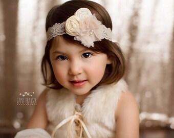 Cream Off White Beige  Headband ,Beige Tulle Flower Double Rosette headband on cream elastic lace