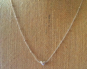 Delicate dainty feminine minimalist sterling silver ball chain with a tiny sterling heart necklace