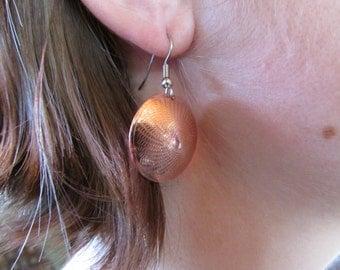 Engine Turned Copper Earrings
