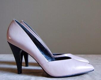 pale pink high heels / vintage 80s Philippe Spain leather heels