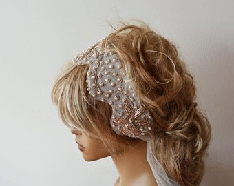 Wedding Hair Accessories, Bridal  Headband,  wedding headband , Bridal Hair Accessories, Antique Gold Vintage Embroidery Headband