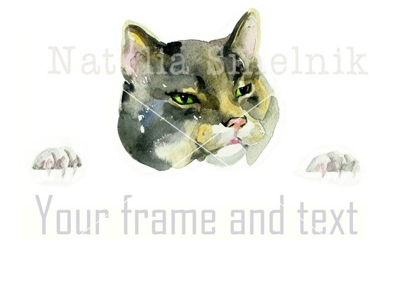 Gray serious cat head digital download from original watercolor art nursery art, pet clipart watercolour illustration