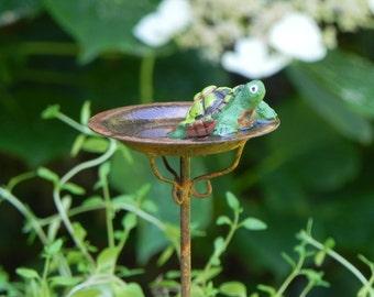 Fairy Garden Birdbath miniature rusty bird bath with turtle and artificial water for terrarium