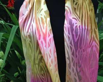 Hand painted Pink, Yellow, Gold Silk Scarf,Hand Painted  Art Deco Scarf, Hand painted Downton Abbey, Great Gatsby Silk Scarf