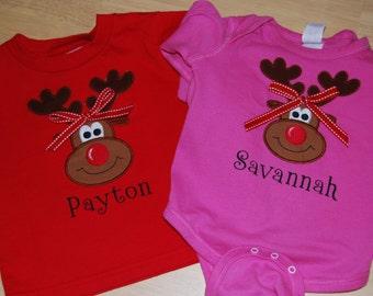 Personalized Reindeer Onesie or T-shirt
