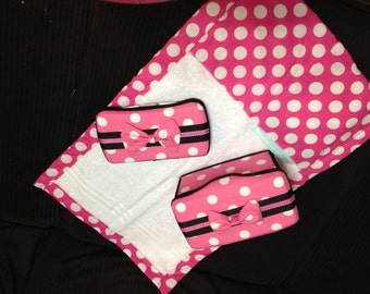 Baby Changing set (Large Wipe Tub, Travel Wipe Case and Changing Pad) Minnie Inspired