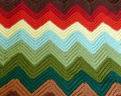 Vintage Handmade Crochet Chevron Zig Zag Striped Ombre Afghan in Fall Colors