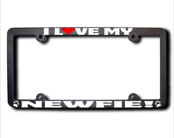 I Love My Newfie License Plate Frame USA (T)
