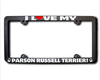 I Love My Parson Russell Terrier License Plate Frame USA (T)