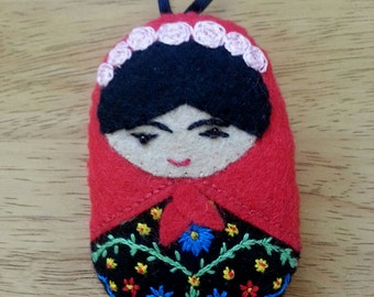 Mexican Artist Charm/Decoration (pink roses)
