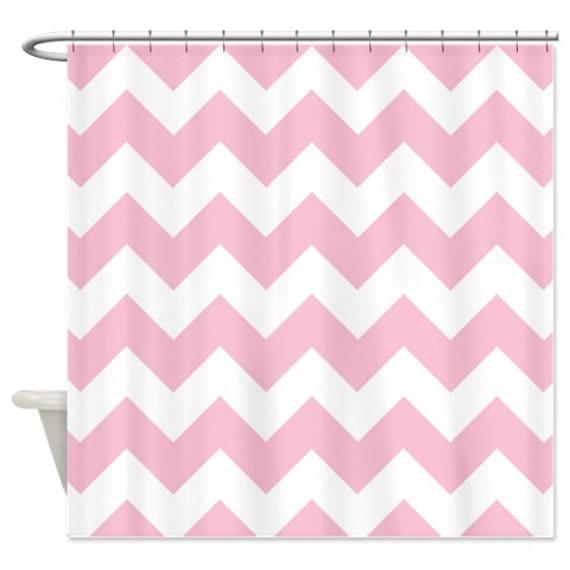 Chevron shower curtain light pink white zig zag for Light pink shower curtain