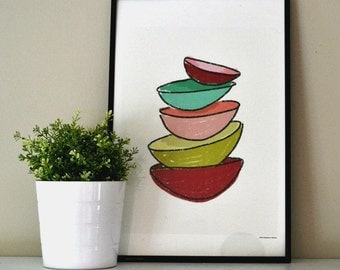 ABSTRACT SKETCH of Red, Teal, Pink and Yellow Bowls